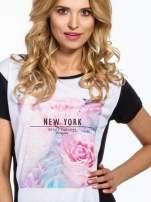Czarny t-shirt z nadrukiem kwiatowym i napisem NEW YORK                                  zdj.                                  5