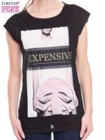 Czarny t-shirt z nadrukiem modowym i złotym napisem EXPENSIVE                                  zdj.                                  2