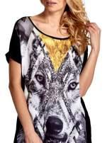 Czarny t-shirt z nadrukiem wilka                                                                          zdj.                                                                         5
