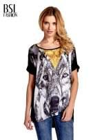 Czarny t-shirt z nadrukiem wilka                                                                          zdj.                                                                         1