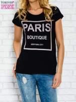 Czarny t-shirt z napisem PARIS BOUTIQUE z dżetami                                  zdj.                                  1