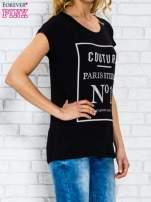 Czarny t-shirt z napisem PARIS STUDIO z dżetami