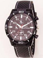 Czarny zegarek męski z białymi wstawkami                                  zdj.                                  1