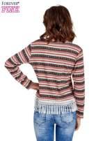 Czerwona bluza w azteckie wzory z koronką z frędzlami
