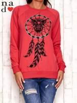 Czerwona bluza z motywem sowy i łapacza snów                                  zdj.                                  1