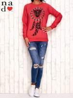 Czerwona bluza z motywem sowy i łapacza snów                                  zdj.                                  2