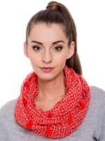 Czerwona chusta szal w geometryczny wzór                                                                          zdj.                                                                         1