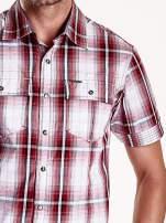 Czerwona koszula męska w kratę z krótkim rękawem