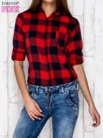 Czerwona koszula w kratę z kieszonką                                  zdj.                                  5