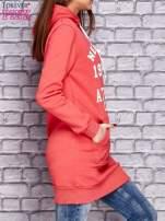 Czerwona ocieplana bluza z kapturem                                  zdj.                                  3