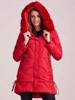 Czerwona pikowana kurtka na zimę                                  zdj.                                  6