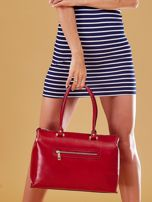 Czerwona skórzana torba damska kuferek                                  zdj.                                  8