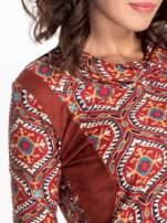 Czerwona sukienka etno z łączonych materiałów                                  zdj.                                  4