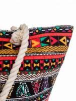 Czerwona torba plażowa w azteckie wzory