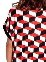 Czerwona tunika w przestrzenne geometryczne wzory                                                                          zdj.                                                                         5