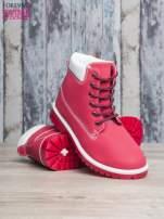 Czerwone buty trekkingowe damskie traperki                                                                           zdj.                                                                         4