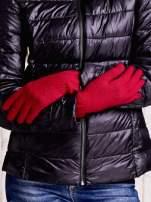 Beżowe długie rękawiczki z przeszywanym ściągaczem