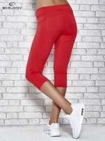 Czerwone legginsy 3/4 sportowe termalne z lampasami                                  zdj.                                  3