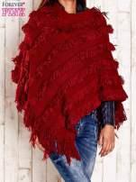 Czerwone poncho z frędzlami                                   zdj.                                  4
