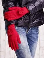 Oliwkowe rękawiczki z kokardką i długim ściągaczem
