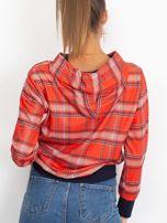 Czerwono-granatowa bluza w kratkę z kapturem                                  zdj.                                  2
