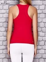 Czerwony damski top sportowy bokserka z dżetami