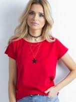 Czerwony t-shirt damski z bawełny                                   zdj.                                  1