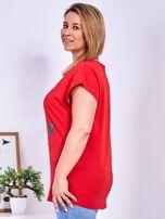 Czerwony t-shirt z jaskrami PLUS SIZE                                  zdj.                                  5