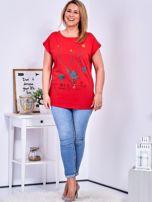 Czerwony t-shirt z jaskrami PLUS SIZE                                  zdj.                                  4
