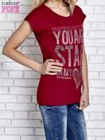 Czerwony t-shirt z napisem YOU ARE STAR IN MY HEART z dżetami                                                                          zdj.                                                                         2