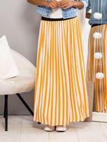 Długa spódnica maxi w biało-pomarańczowe paski