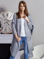 Długi ażurowany sweter szary                                  zdj.                                  1