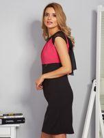 Dopasowana sukienka koktajlowa z szarfą czarno-różowa                                  zdj.                                  3