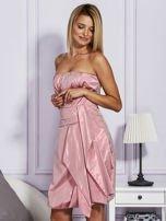 Drapowana sukienka z metalicznym połyskiem różowa                                  zdj.                                  3