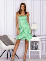 Drapowana sukienka z metalicznym połyskiem zielona                                  zdj.                                  4