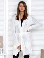 Ecru ażurowy długi sweter typu kardigan z paskiem                                  zdj.                                  1