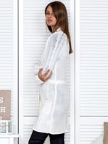 Ecru ażurowy długi sweter typu kardigan z paskiem                                  zdj.                                  6