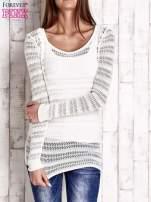 Ecru ażurowy dziergany sweter                                                                          zdj.                                                                         1