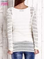 Ecru ażurowy dziergany sweter                                                                          zdj.                                                                         4