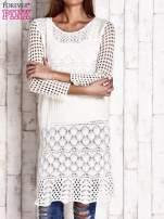 Ecru ażurowy sweter sukienka                                   zdj.                                  1
