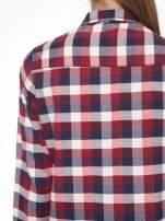 Ecru-bordowa damska koszula w kratę z kieszonkami                                  zdj.                                  7