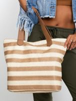 Ecru-brązowa torba w paski                                  zdj.                                  5