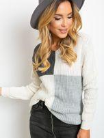 Ecru-ciemnoszary sweter Latina                                  zdj.                                  5