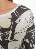 Ecru-czarna bluza z nadrukiem floral print i suwakami                                  zdj.                                  5