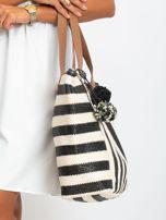 Ecru-czarna torba w paski                                  zdj.                                  3