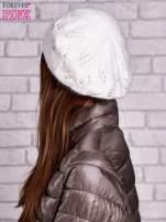 Ecru dzianinowa czapka z angory