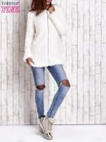 Ecru futrzany sweter kurtka na suwak                                  zdj.                                  10