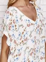 Ecru koszula w kwiaty ze złotą lamówką                                  zdj.                                  5
