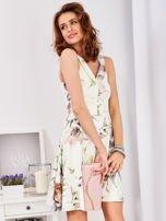 Ecru rozkloszowana sukienka w malarskie roślinne wzory                                  zdj.                                  9