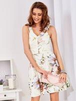 Ecru rozkloszowana sukienka w malarskie roślinne wzory                                  zdj.                                  10